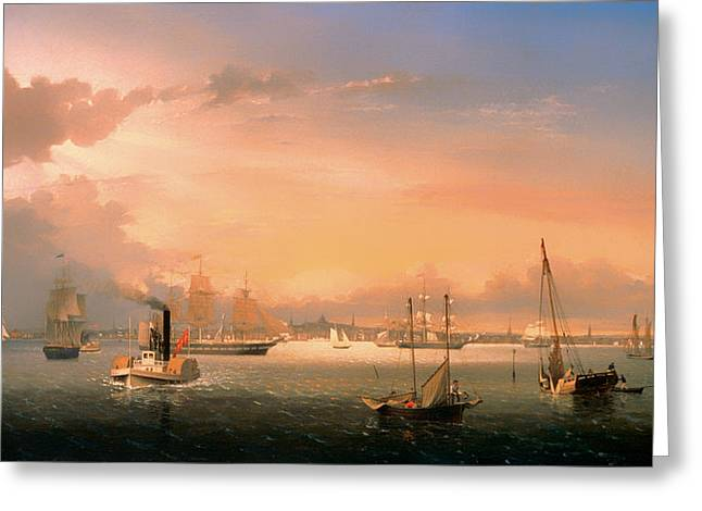 Steamboat Greeting Cards - Boston Harbor Greeting Card by Fritz Land