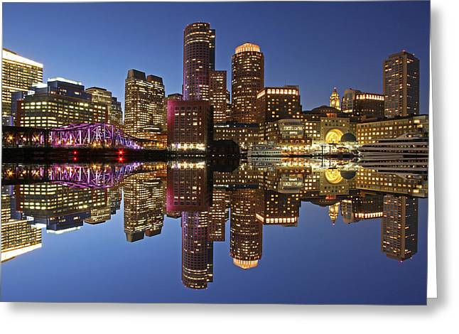 Boston Skyline Photo Greeting Cards - Boston Harbor Greeting Card by Juergen Roth
