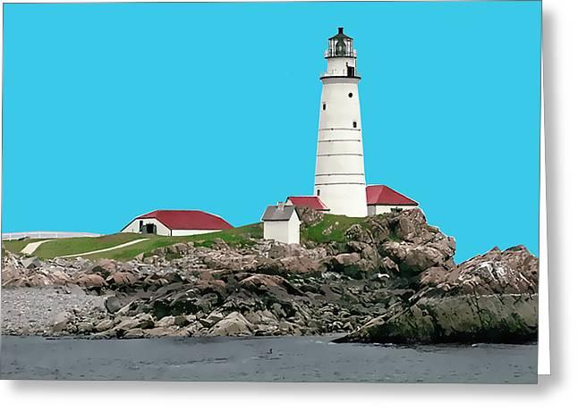 Silk Screen Greeting Cards - Boston Harbor Lighthouse Greeting Card by Elaine Plesser