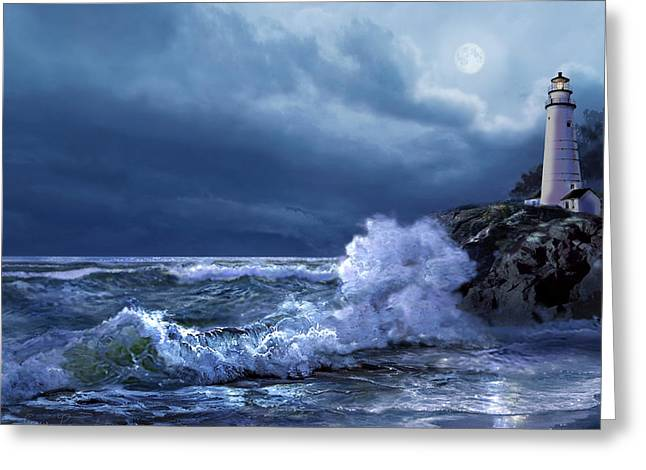 Sea With Waves Greeting Cards - Boston Harbor Lighthouse Moonlight scene Greeting Card by Gina Femrite