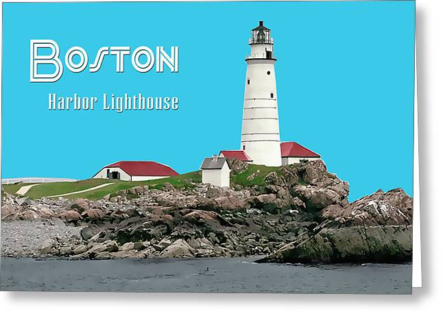 Silk Screen Greeting Cards - Boston Harbor Lighthouse TEXT Boston Greeting Card by Elaine Plesser