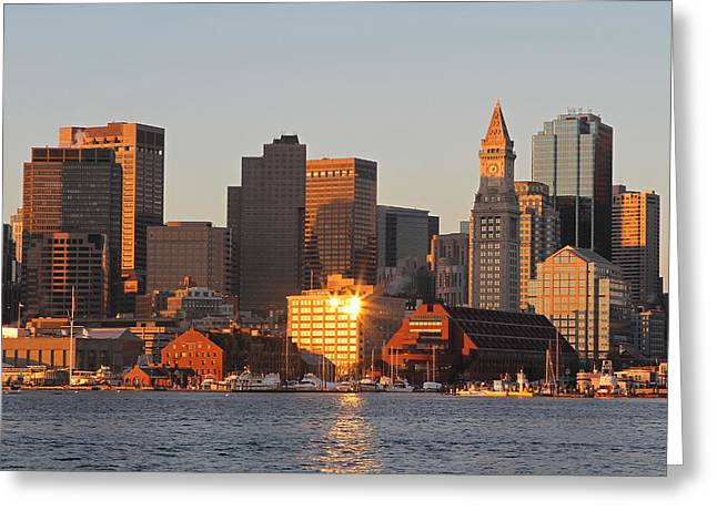 Custom House Tower Greeting Cards - Boston Harbor Morning Bliss Greeting Card by Juergen Roth