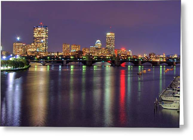 Charles River Greeting Cards - Boston Harbor Nights-Panorama Greeting Card by Joann Vitali