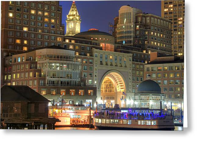 Night Scenes Photographs Greeting Cards - Boston Harbor Party Greeting Card by Joann Vitali