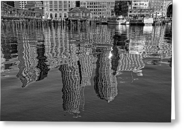 Boston Skyline Greeting Cards - Boston Harbor Reflections Greeting Card by Joann Vitali