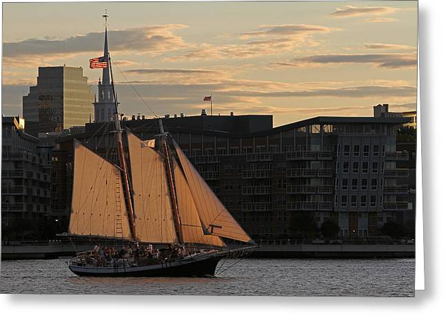 Old North Church Greeting Cards - Boston Harbor Sailing on the Schooner Liberty Star Greeting Card by Juergen Roth