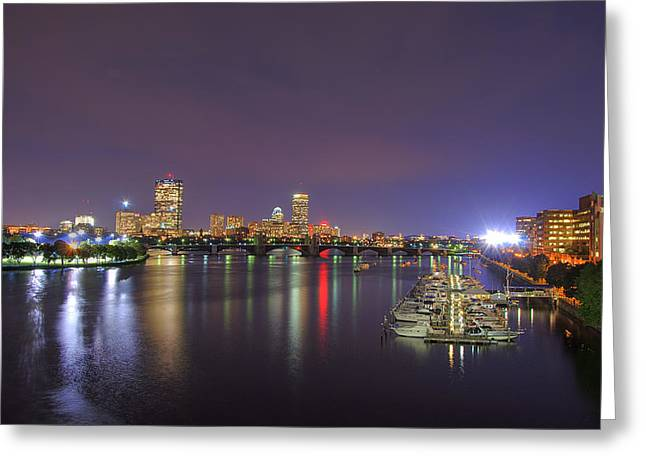 Boston Nights Greeting Cards - Boston Harbor Skyline Greeting Card by Joann Vitali