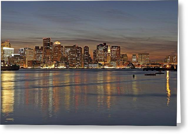 Fan Pier Greeting Cards - Boston Harbor Skyline Reflection Greeting Card by Juergen Roth