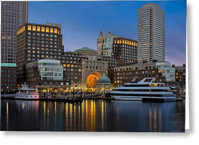 Night-scape Greeting Cards - Boston Harbor Skyline Greeting Card by Susan Candelario