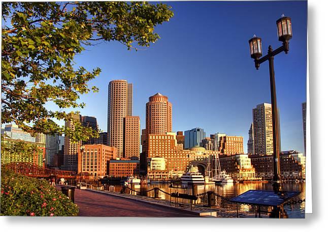 Boston Harbor Sunrise Greeting Card by Joann Vitali