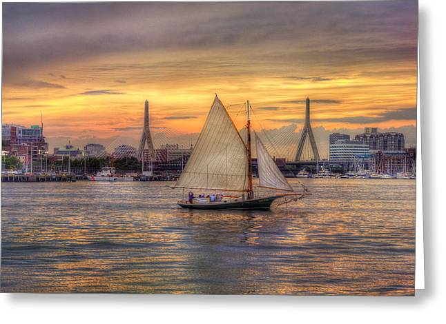 Boston Harbor Greeting Cards - Boston Harbor Sunset Sail Greeting Card by Joann Vitali