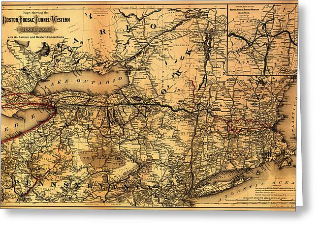 Illustrative Greeting Cards - Boston Hoosac Tunnel and Western Railway Map 1881 Greeting Card by Mountain Dreams