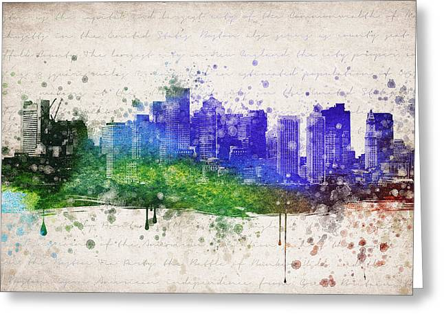 Boston Skyline Greeting Cards - Boston in Color Greeting Card by Aged Pixel