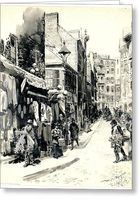 Boston Jewish Quarter 1899 Greeting Card by Padre Art