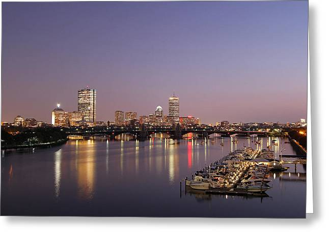 Boston Photos Greeting Cards - Boston Landmarks at Twilight Greeting Card by Juergen Roth