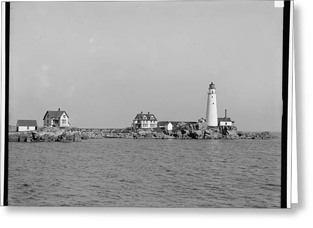 Boston Light Greeting Cards - Boston Light 1906 Greeting Card by Nomad Art And  Design