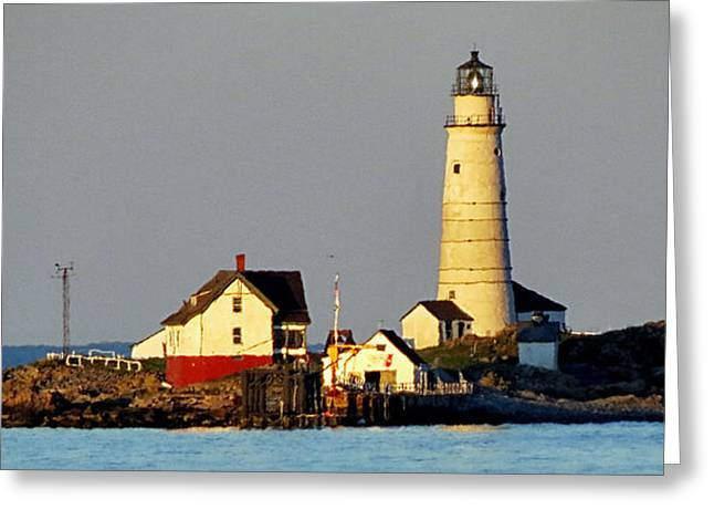 Recently Sold -  - Ocean Landscape Greeting Cards - Boston Light Greeting Card by Nomad Art And  Design
