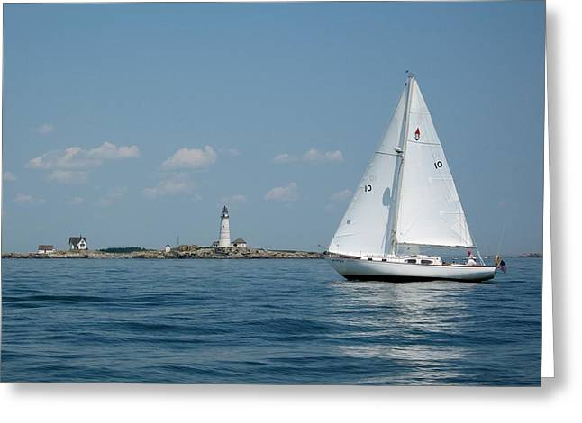 Sailboat Ocean Greeting Cards - Boston Light two Greeting Card by Laura Lee Zanghetti