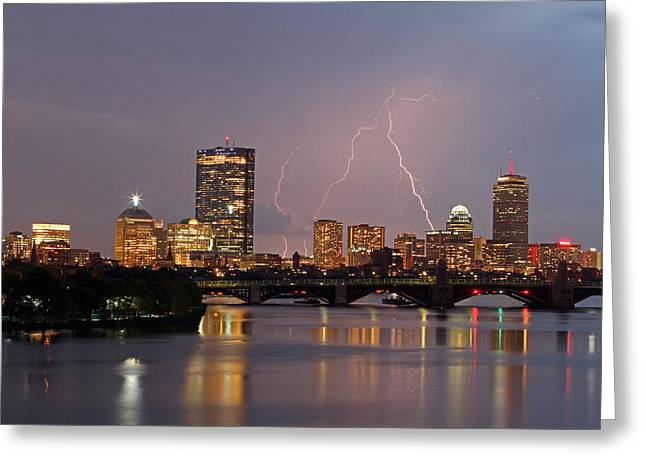 Charles River Greeting Cards - Boston Lightning Thunderstorm Greeting Card by Juergen Roth