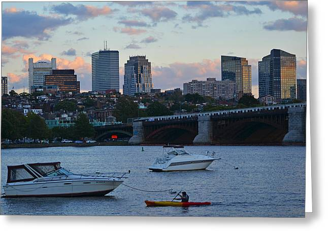 Boston Ma Greeting Cards - Boston Longfellow Bridge Kayaker Greeting Card by Toby McGuire