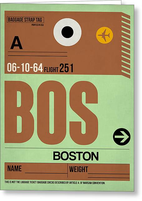 Tourists Greeting Cards - Boston Luggage Poster 1 Greeting Card by Naxart Studio
