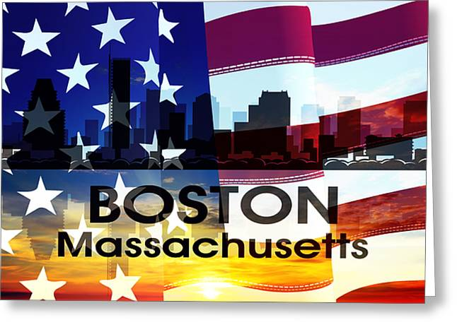 Boston Ma Greeting Cards - Boston MA Patriotic Large Cityscape Greeting Card by Angelina Vick