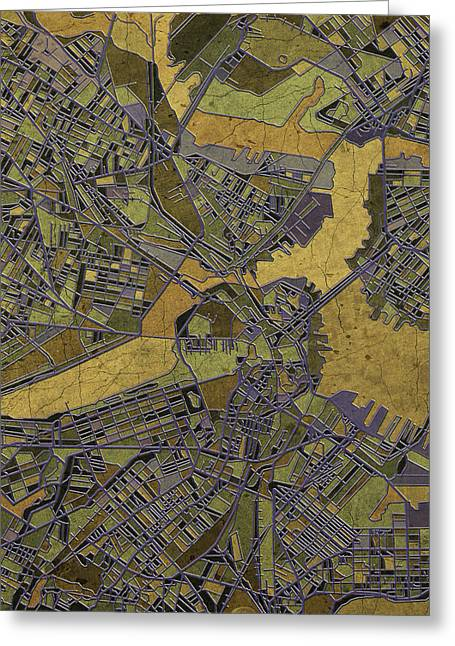 Vintage Map Digital Art Greeting Cards - Boston Map Antique 2 Greeting Card by MB Art factory