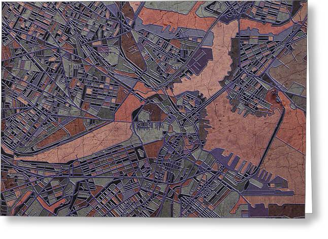 Abstract Map Greeting Cards - Boston Map Antique Greeting Card by MB Art factory