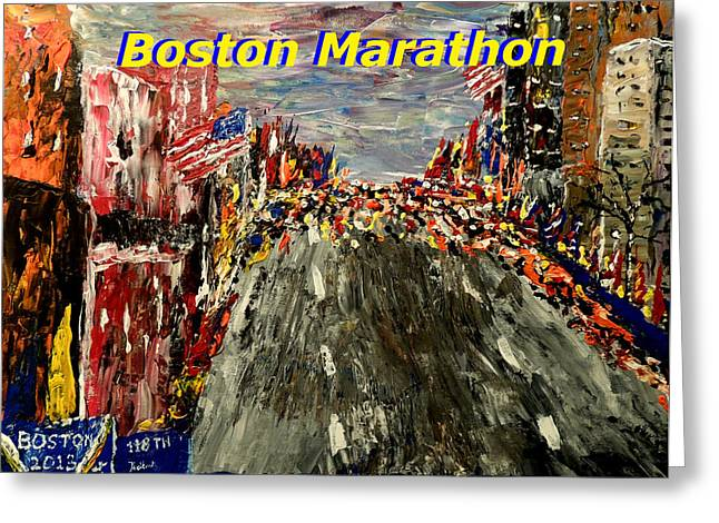 Boston Marathon 2 Greeting Card by Mark Moore