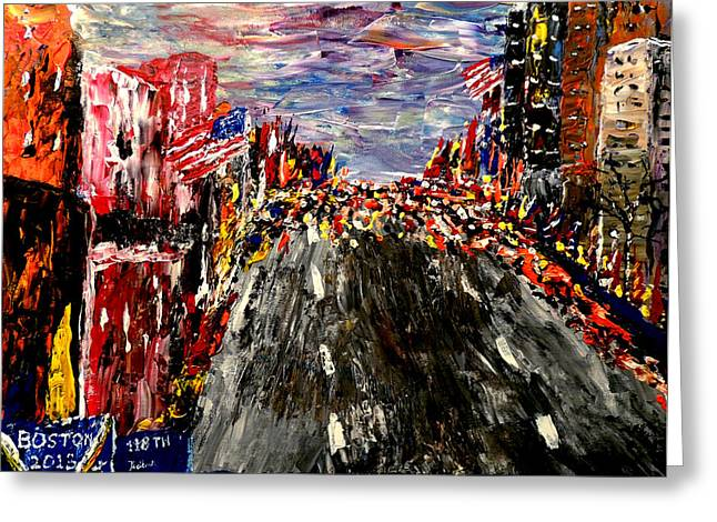 Most Greeting Cards - Boston Marathon  Greeting Card by Mark Moore
