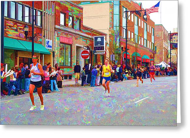 Coolidge Greeting Cards - Boston Marathon Mile Twenty Two Greeting Card by Barbara McDevitt
