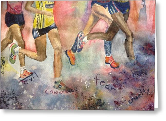 Courage Paintings Greeting Cards - Boston Marathon Strength Greeting Card by Kathy Sievering