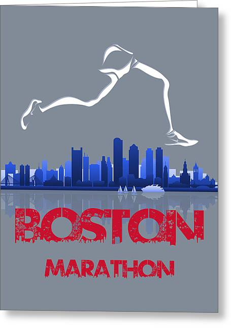 Runner Greeting Cards - Boston Marathon3 Greeting Card by Joe Hamilton