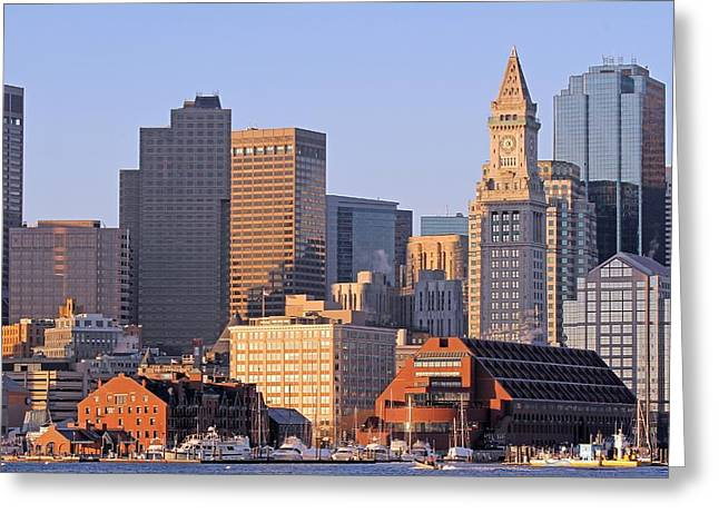 Custom House Tower Greeting Cards - Boston Marriott Long Wharf Greeting Card by Juergen Roth