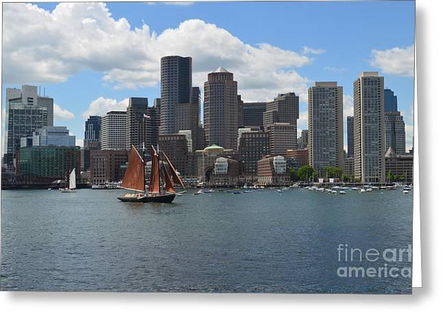 Boston Ma Greeting Cards - Boston Massachusetts Skyline Greeting Card by DejaVu Designs