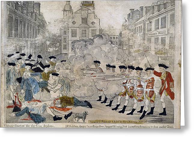 Paul Revere Greeting Cards - Boston Massacre Greeting Card by Celestial Images