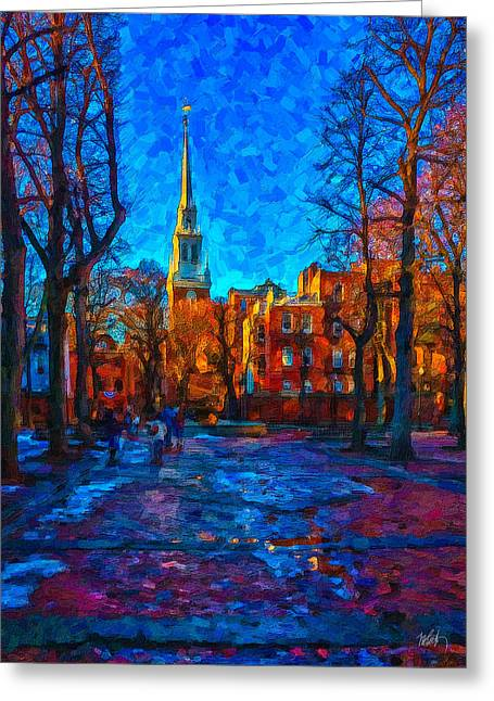 Steeple Mixed Media Greeting Cards - Boston Greeting Card by Michael Petrizzo
