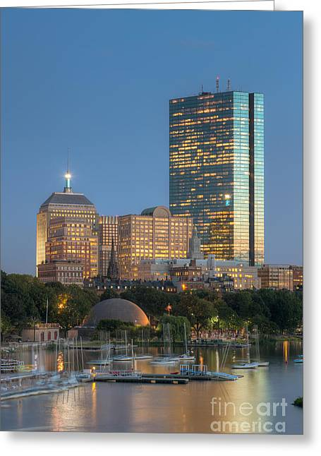 Bean Town Greeting Cards - Boston Night Skyline IV Greeting Card by Clarence Holmes
