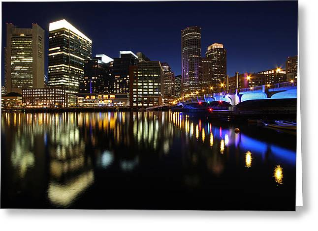 Boston Photos Greeting Cards - Boston Nightfall Greeting Card by Juergen Roth