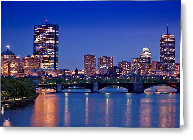 Marina Night Greeting Cards - Boston Nights 2 Greeting Card by Joann Vitali