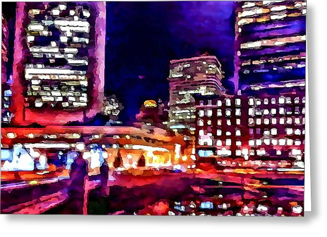 Live Art Greeting Cards - Boston Nights 2 Greeting Card by Yury Malkov