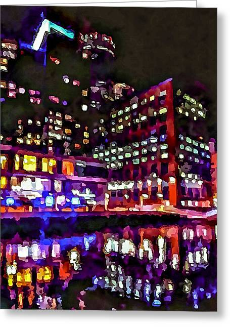Live Art Greeting Cards - Boston Nights 3 Greeting Card by Yury Malkov