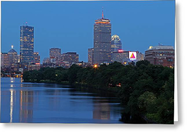 Charles River Greeting Cards - Boston Nightscape Greeting Card by Juergen Roth
