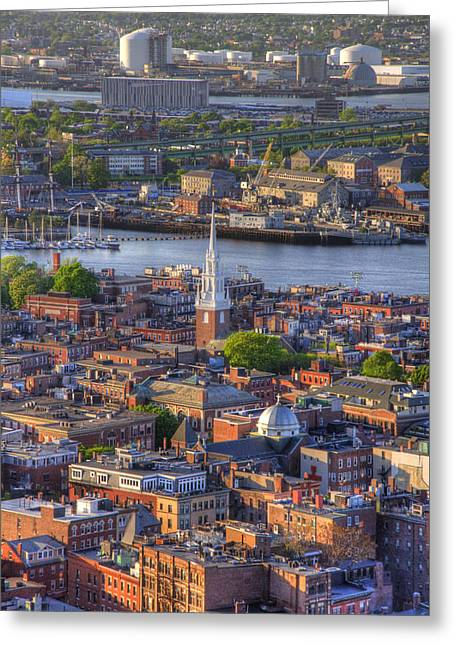 Old North Church Greeting Cards - Boston North End Rooftops 2Bo Greeting Card by Joann Vitali