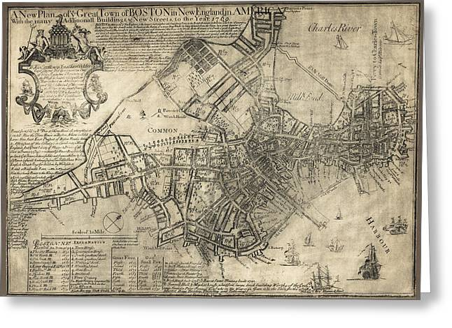 New Britain Greeting Cards - BOSTON of BRITISH DOMINION MAP  1769 Greeting Card by Daniel Hagerman