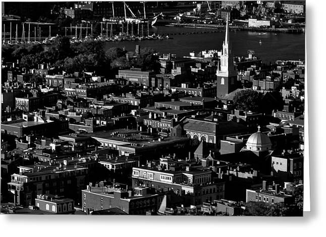 Paul Revere Greeting Cards - Boston Old North Church Black And White Greeting Card by Benjamin Yeager