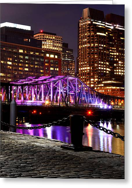 Oxford. Oxford Ma. Massachusetts Greeting Cards - Boston Old Northern Avenue Bridge Illuminated Greeting Card by Toby McGuire