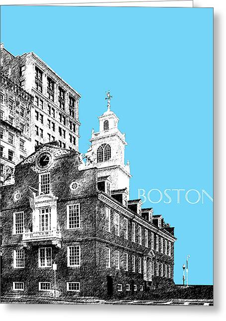 State Capital Greeting Cards - Boston Old State House - Sky Blue Greeting Card by DB Artist