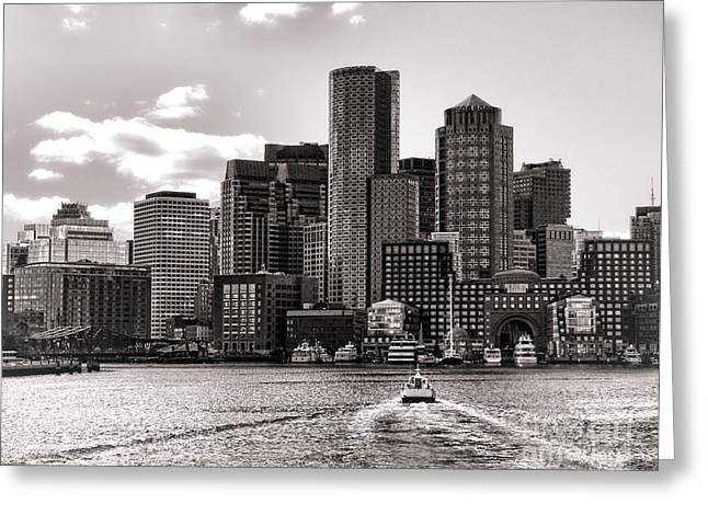 Port Greeting Cards - Boston Greeting Card by Olivier Le Queinec