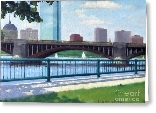 Boston Red Sox Paintings Greeting Cards - Boston on the Charles River Greeting Card by Rosemarie Morelli